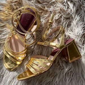 Zara wrap strappy gold sandal chunky heel 38